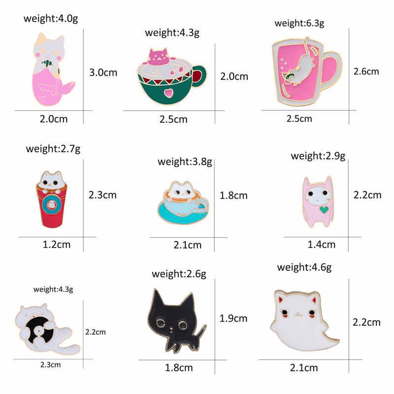 チャーム 9 スタイルかわいい漫画猫ピン金属ブローチ女性のための猫のカップルエナメルピンデニムジャケットシャツバッグバッジ男性キッズギフト