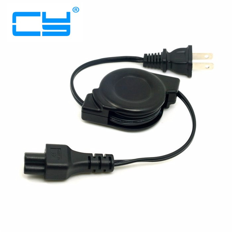 5pcs USA Plug Power Supply Retractable Cable 2 Prong 2 Outlets Outlet  Laptop Cord IEC