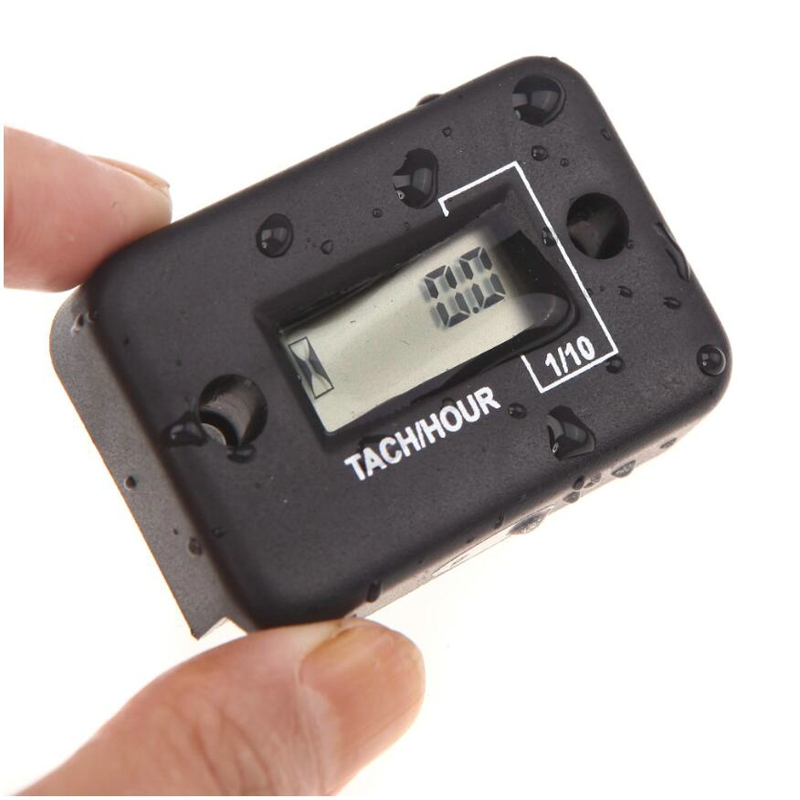 LCD Inductive Waterproof Hour Meter Timer Engine Motocross Gas RL-HM006 for ATV snowmobile jet ski outboard lawn mower tractor