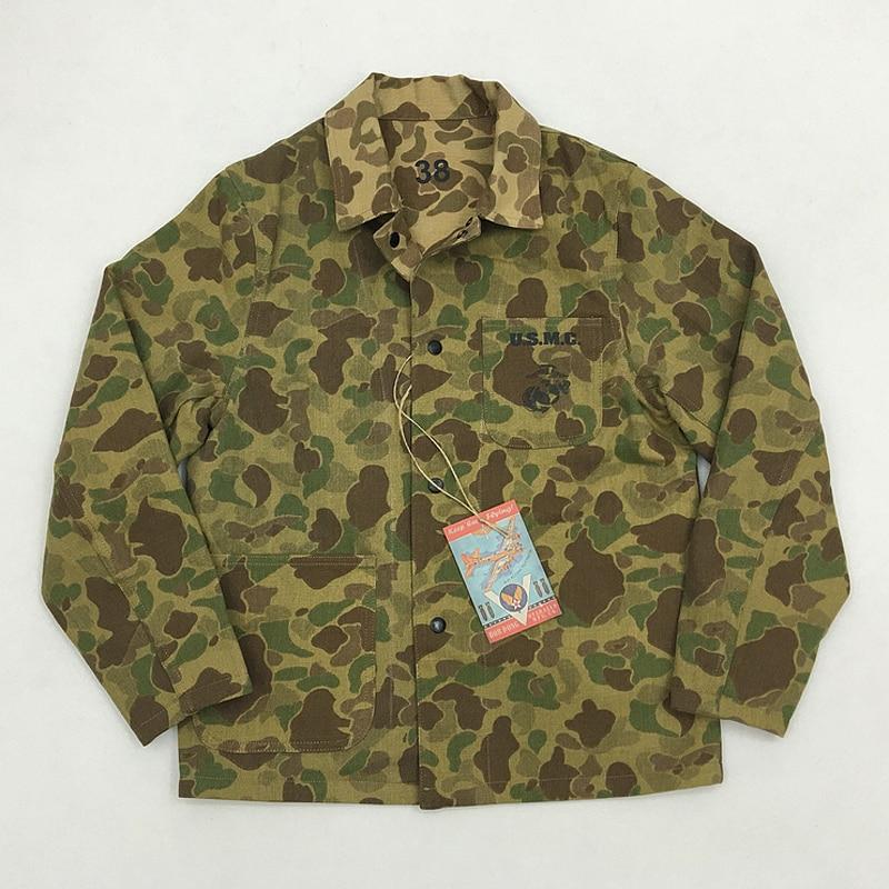 BOB DONG Repro USMC pacyfiku Camo kurtka 13.7 oz Denim odwracalne nas armia płaszcz w Kurtki od Odzież męska na  Grupa 1