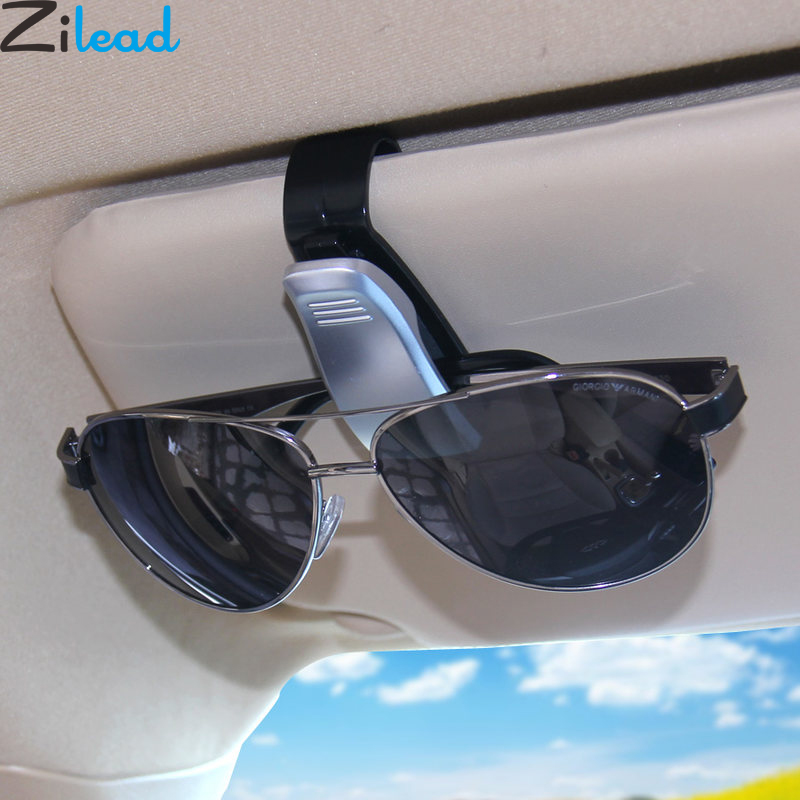 Zilead Portable Auto Fastener Glasses Clip Car Driving Sunglasses Eyeglasses Glasses Holder Clip Black Silver Eyewear Clip
