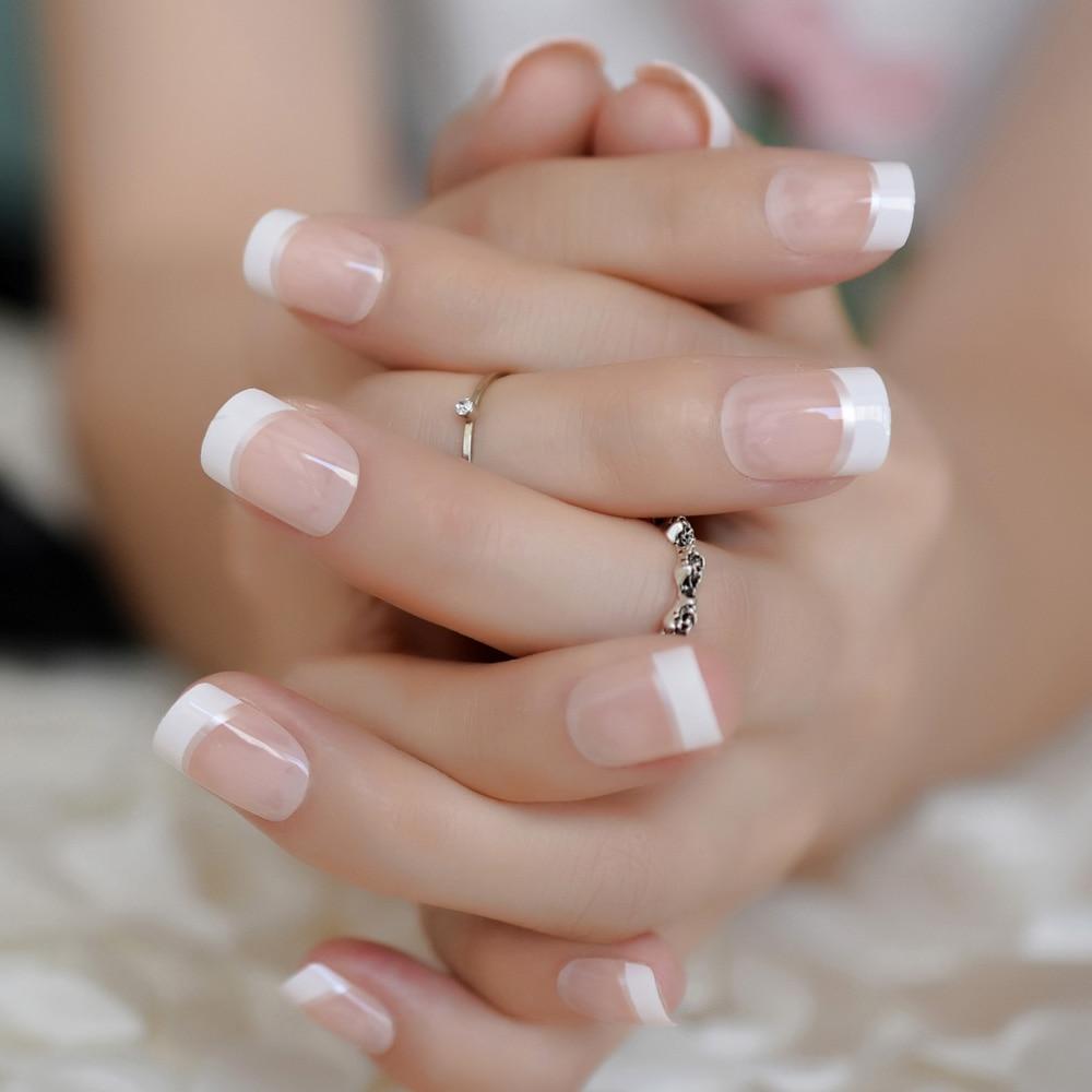 natural pink white french nail