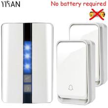 YIFAN Nueva autoalimentado ninguna batería Timbre Inalámbrico Impermeable Enchufe de LA UE inteligente botón 1 receptor de bell de Puerta de 2 LED luz 110 V 220 V