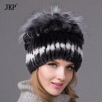 New Rex rabbit fur hat knitted hat striped knit stitching Rex fox fur top free shipping