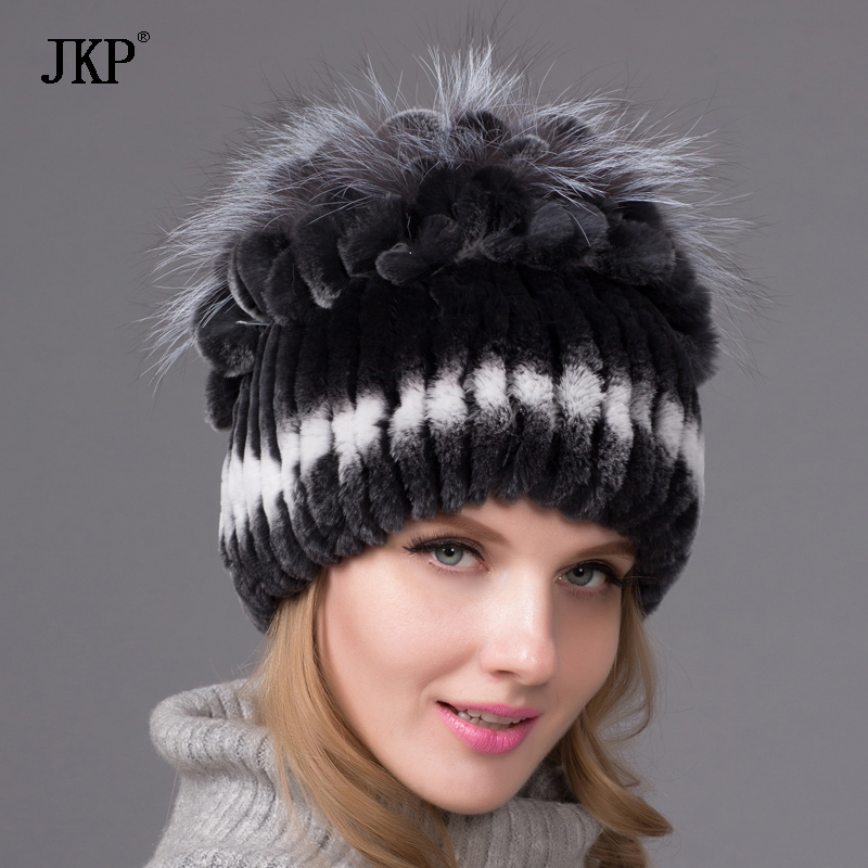 New Rex rabbit fur hat knitted hat striped knit stitching Rex fox fur top free shipping
