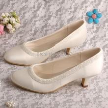 Wedopus MW424 Женщины Котенок Пятки Закрыты Носок Небольшой Бисером Свадебная Обувь Свадьбы