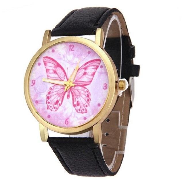 297fddcdb7a Mulheres relógios de quartzo moda vestido butterfly padrão pulseira de  couro relógio analógico hour relógios relogio