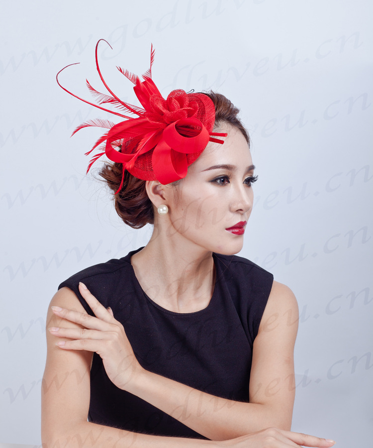 Us 19 73 50 Off Ladies Red Sinamay Hat Handmade Beautiful European Lady Large Floral Hair Accessories Hats Headwear Feather Flower Hair Clip In