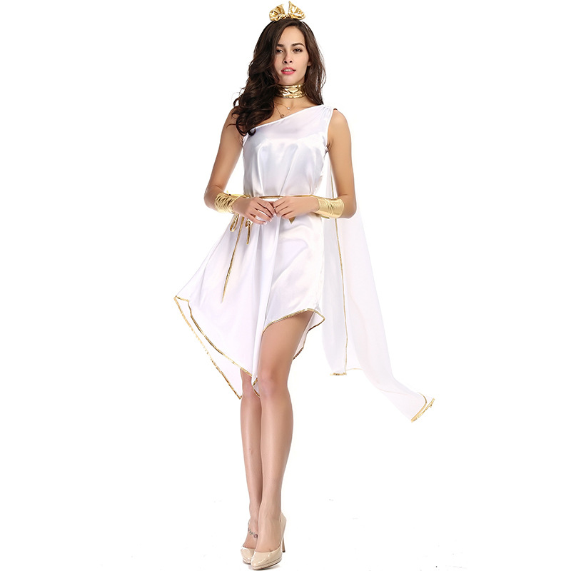New adult woman Halloween costumes Greek Goddess Cosplay Clothes Set White Loose Dress for party Purim carnival