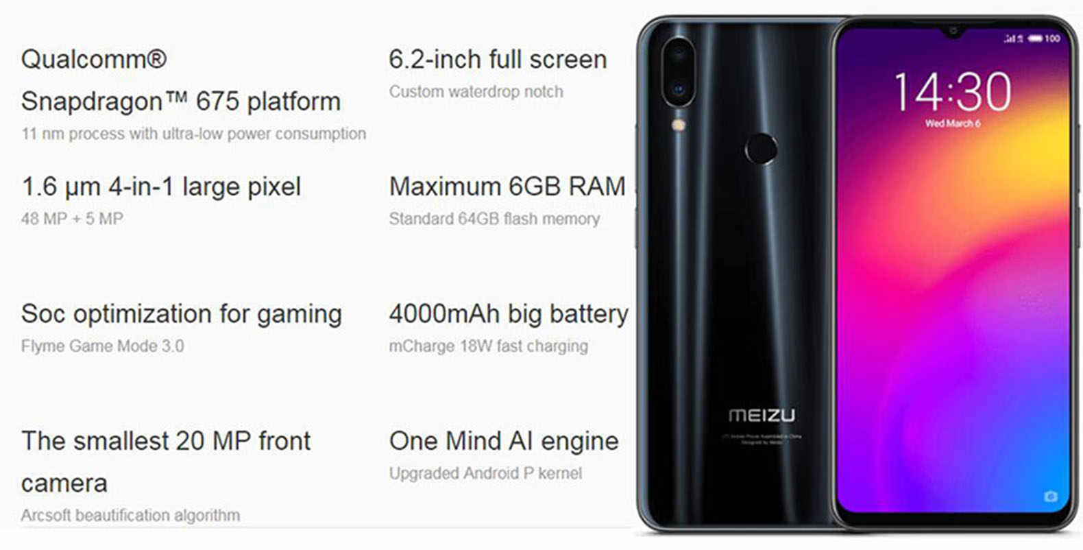 instock meizu Note 9 48 0mp Camera 4GB RAM 64GB ROM 4G LTE Snapdragon 675  Octa Core 6 2