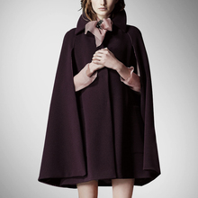 Promotion Rushed Pockets Regular Solid Cloak Covered Cashmere Turn-down Collar Full Bayan Kaban Coats Cape Wool Coat(China)