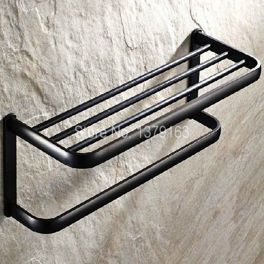Bathroom Accessory Black Oil Rubbed Brass Wall Mounted Bathroom Towel Rail Holder Storage Rack Shelf Bar aba190