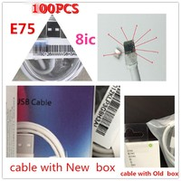 New genuine 100% original packaging box 1m / 3ft 8ic E75 chip USB data Sync charger cable for Foxconn i7 8 6 plus with green tag
