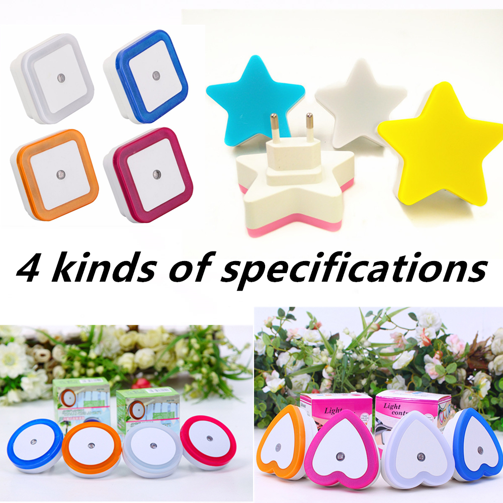 Light Sensor Control Night Light Mini EU US Plug Novelty Square Bedroom Lamp For Baby Gift Romantic Colorful Lights Lamp Luminar