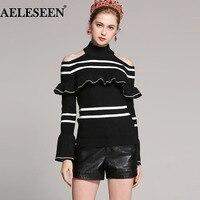 Classic Striped Ladies Off Shoulder Sweater 2018 Autumn New Falre Turtleneck Pullover Luxury Streetwear Black Knit