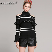 Classic Striped Ladies Off Shoulder Sweater 2018 Autumn New Falre Turtleneck Pullover Luxury Streetwear Black Knit
