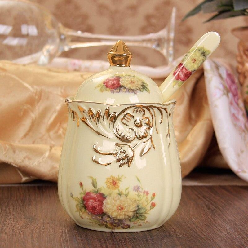 Belle bouteille d'assaisonnement en céramique 3 pièces/ensemble pot à épices style européen sauce pot fournitures de cuisine conteneur de stockage réservoir - 6