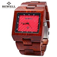 Bewell Men Wood Quartz Watch Rectangle Dial Wooden Band Waterproof Japan Movtment Analog Wrist Watches 2016 relojes