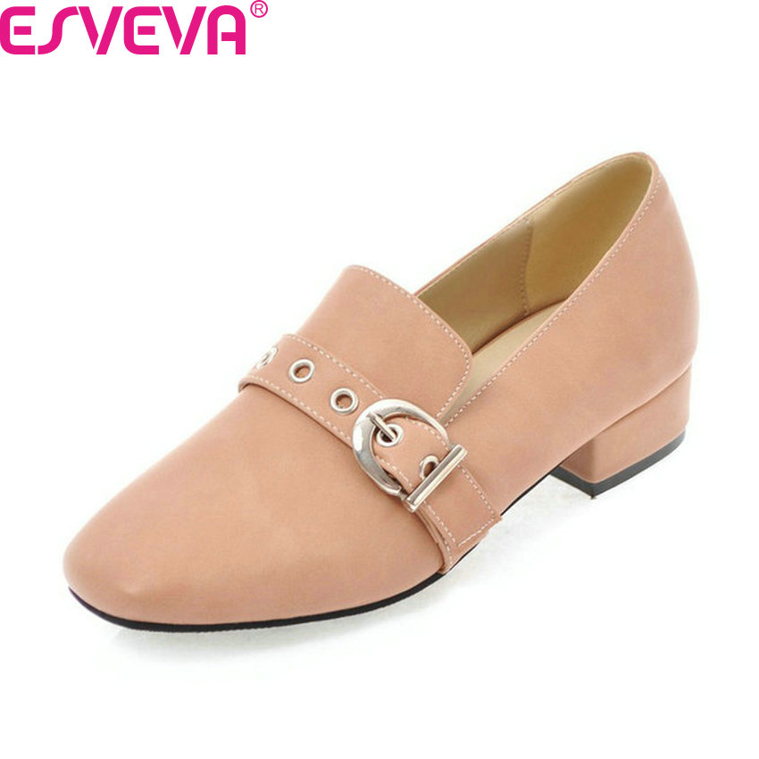 ESVEVA 2018 Women Pumps Simple and Fashion Style Slip on Square Toe Square Low Heels PU Leather Ladies Pumps Shoes Size 34-43 esveva simple and fashion high heel women pumps elegant genuine leather ladies shoes
