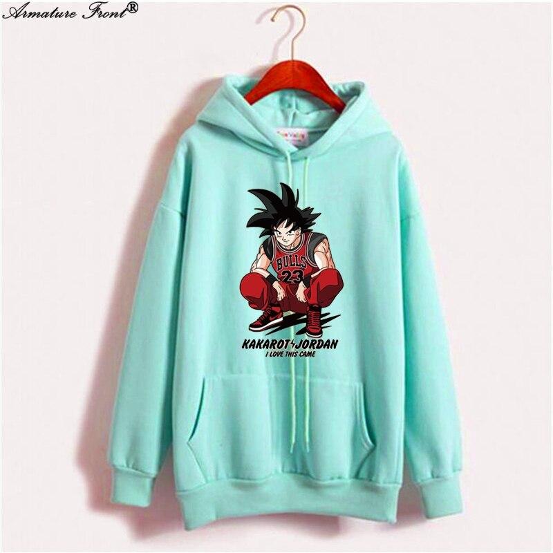 Women's Clothing Cartoon Dragon Ball Monkey King Print Exo Sweatshirts Autumn 2019 Spring Coat Women Couple Hoodies Harajuku Tops Streetwear X104