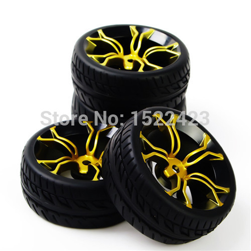 Rc Car Tires Rubber Tyre & Wheel Rim Model Toys 4PCS Tires and Wheels For HSP HPI RC 1:10 Flat   Racing On Road Car PP0150+MPNKG aluminum 6 spoke wheel rim for 1 10 rc on road racing car