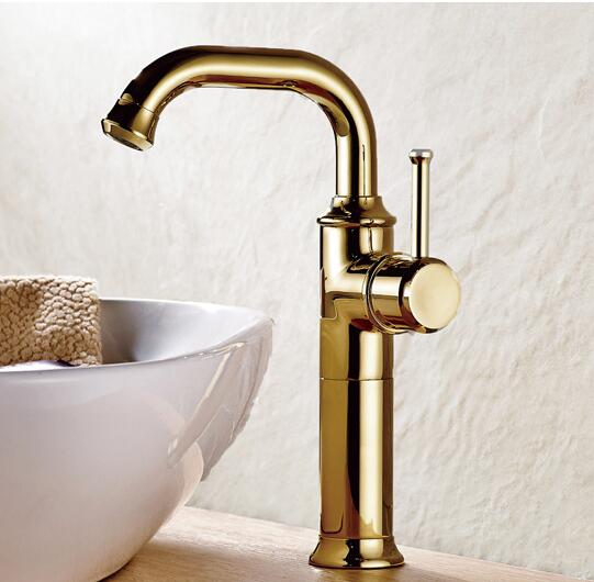 New Arrival Water Tap Wholesale And Retail Gold Brass Bathroom Basin Faucet Sink tap Swivel Spout Vanity Sink faucet Mixer free shipping wholesale and retail water tap black antique brass bathroom basin faucet tap swivel spout vanity sink mixer