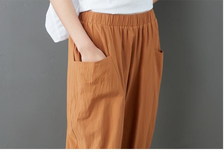 Summer Elastic Waist Cotton Linen Pocket Harem Pant Vintage Loose Mori Girl Oversized Home Tracksuit Plus Size Trouser Workout 58