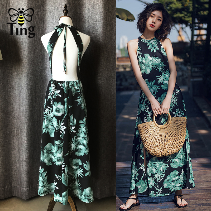 Tingfly Summer Vacation Dress Sexy Tropical Print Backless Halter Neck A Line Maxi Dress Split floral runway Dresses Vestidos