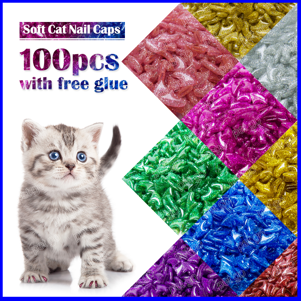 New Fashion Colour Cat  Nail Caps Soft Cat  Claw  Soft Paws100pcs/lot With Free Adhesive Glue Size Xs S M Lgift For Pet
