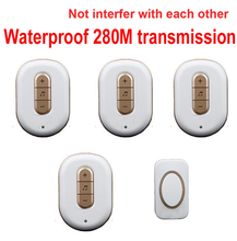5 wall & 280M work music bell w/ 4 receivers wireless doorbell Waterproof wireless door bell,door ring music door bell