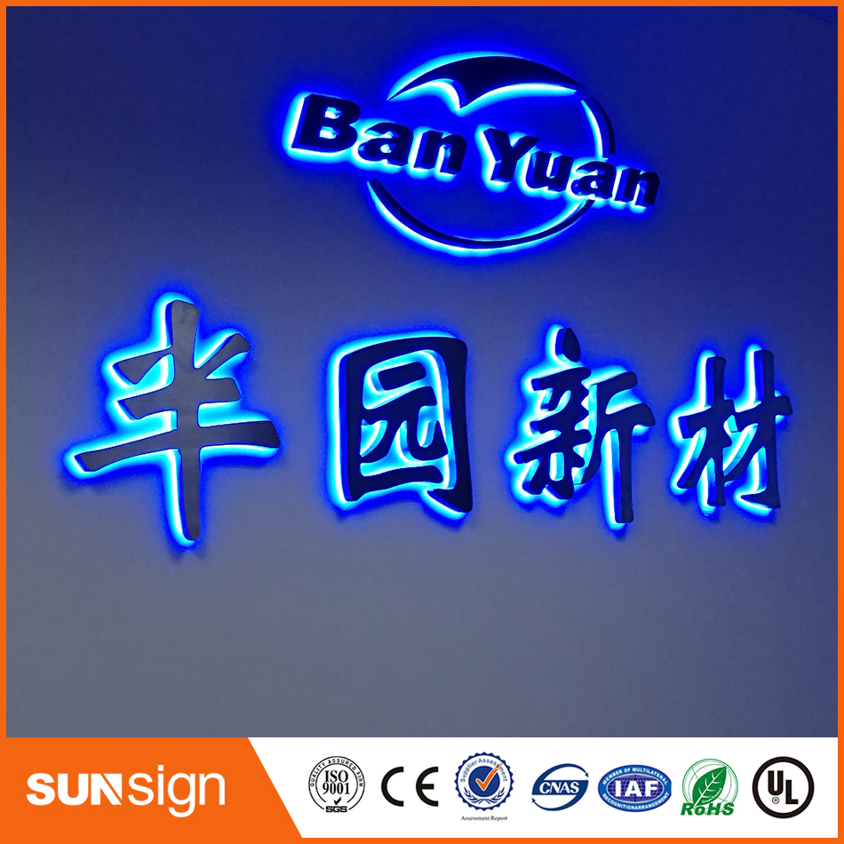 Custom Made Outdoor Waterproof 3D Back Lighted Stainless Steel Channel Letter Signs For Shop Name, Store Signs, Company Logo
