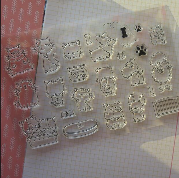 Scrapbook DIY Photo Album Card Rubber Chapter Transparent Seal cute animal Clear Stamp 29