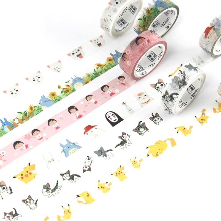 1roll/set Japanese Washi Tape Cartoon Cute Decorative Masking Tape 7m For DIY Album Diary Planner Bullet Journal School Supplies