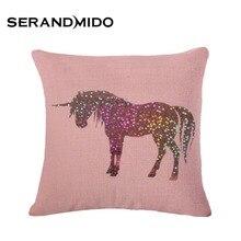 8 Diseños de Animales Unicornio Regalos para Amigos Square Decorativo Fundas de cojines Fundas de Almohada para Cafe Home Funda Cojin SMC1040T