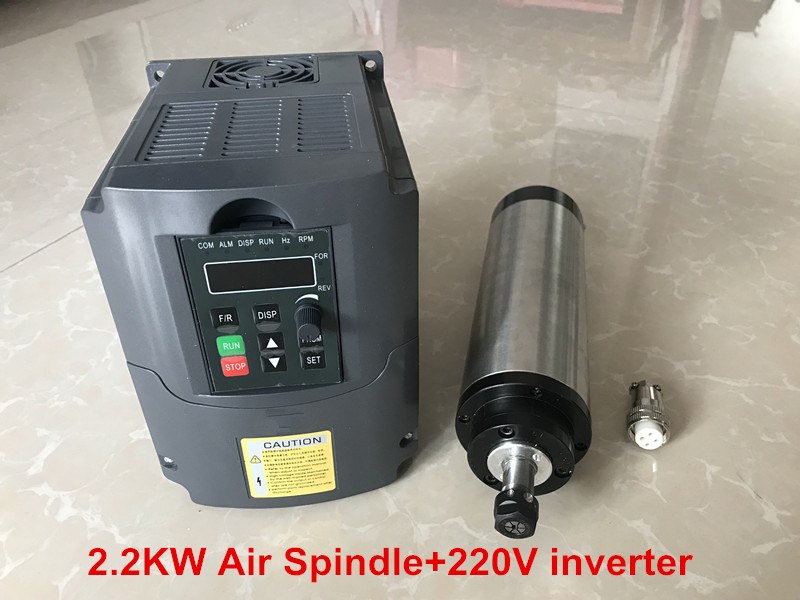 CNC <font><b>Spindle</b></font> <font><b>2.2KW</b></font> Milling Machine Motor 80mm ER20 <font><b>Air</b></font> <font><b>Cooled</b></font> <font><b>Spindle</b></font> Motor + <font><b>2.2KW</b></font> 220V Inverter For Engraving Machine image
