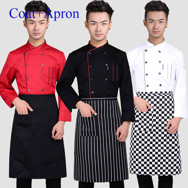 b5a11b070 Coat+Apron Hotel Restaurant Chef Jacket Coffee Shop Work Wear Women Food  Service Chef's Uniform