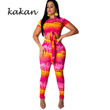 Kakan summer new womens print tight bodysuit tie-dye two-piece large size suit sexy jumpsuit