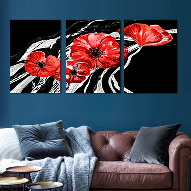 Wand Kunst Leinwand Gemälde Moderne Kunst Rot Blumen Giclée Leinwand ...