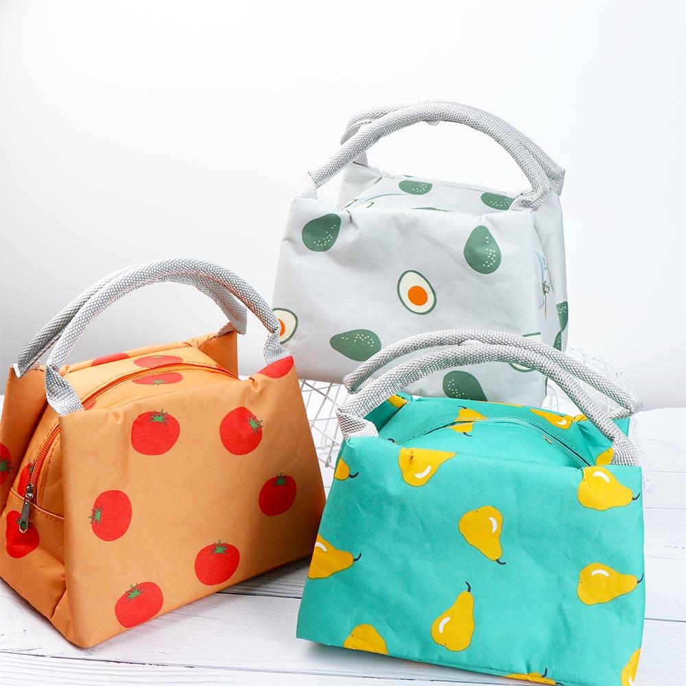 1 Pc Schöne Frucht Gedruckt Frische Mittagessen Taschen Frauen Tragbare Funktionale Reise Isolierte Thermische Lebensmittel Picknick Kinder Kühler Lunch Bag