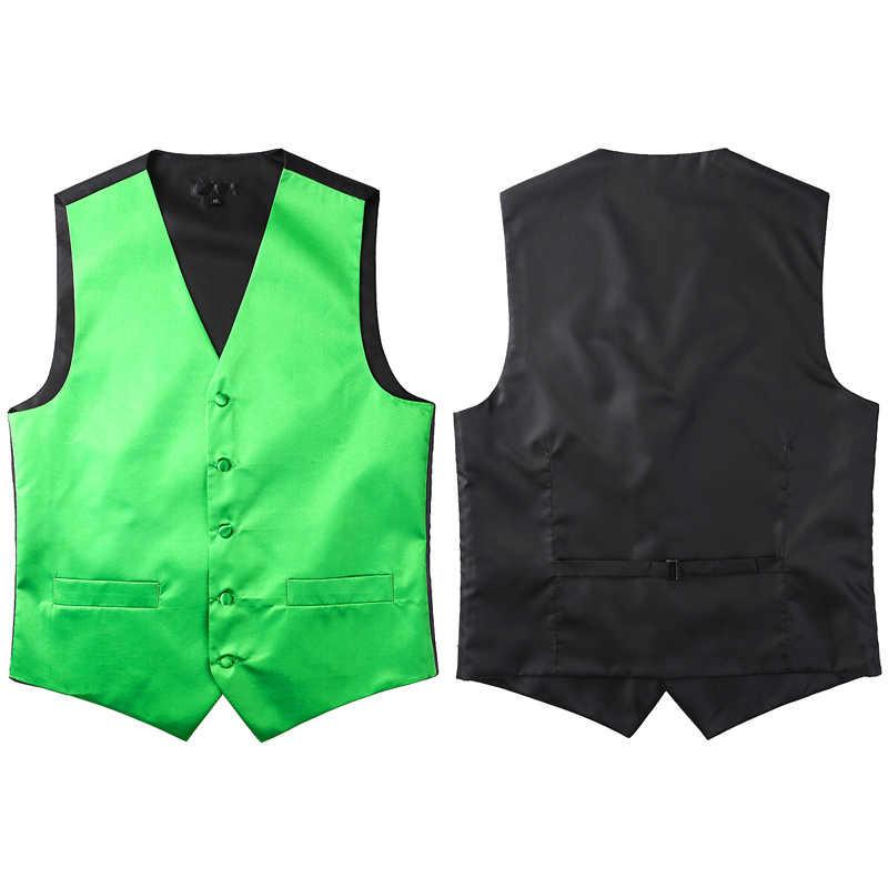 Мужской деловой комплект из 4 предметов, Шелковый классический свадебный галстук, жилет с карманом, квадратный костюм с галстуком-бабочкой, зеленый жилет для мужчин