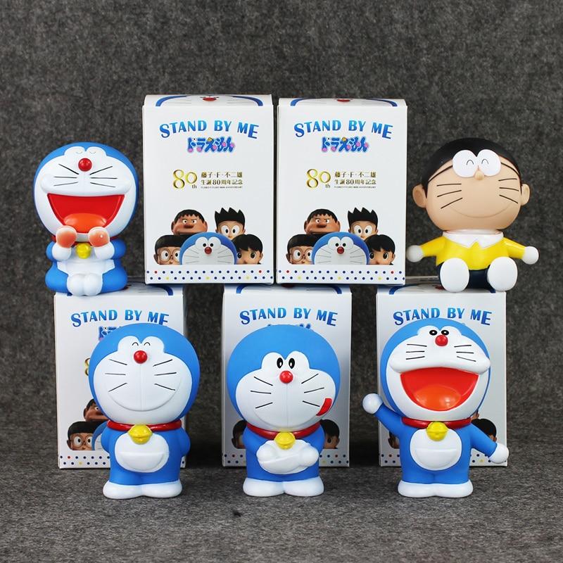 5pcs/set Q Version Doraemon Nobita Nobi PVC Model Toys Japan Anime Action Figure Dolls For Kids Collections 8.5-9.5cm