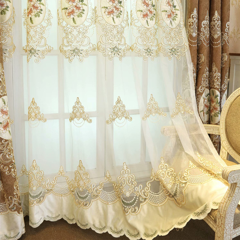 Europe Embroidered Design Flower Cloth Blackout Curtains for Living Room Tulle Curtains Fabric Bedroom Custom Size in Curtains from Home Garden