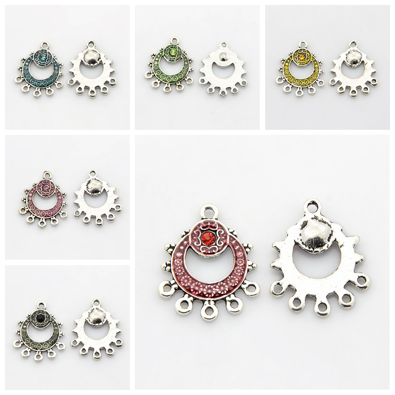 Antique Silver Tone Flat Round Alloy Enamel Chandelier Components, with Rhinestones, 1/5Loops, Flamingo, 26.5x22x2mm, Hole: 2mm