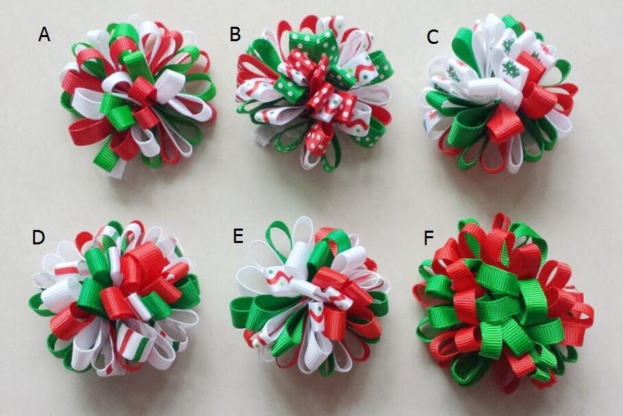 30pcs Christmas Loopy Bows Hair Accessories Kids Ribbon Boutique Xmas Clip Flower Ties Girls Headband HD3236 In From Mother