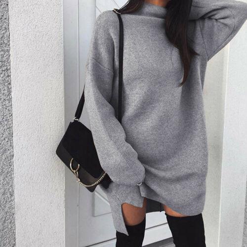 Pullovers Split-Dress Turtleneck Long-Tops Warm Autumn Winter Women's Ladies