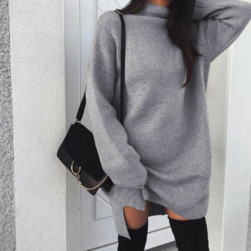 Autumn Winter Women's Pullovers Long Sleeve Long Tops Ladies  Turtleneck Warm Pullovers Split  Dress