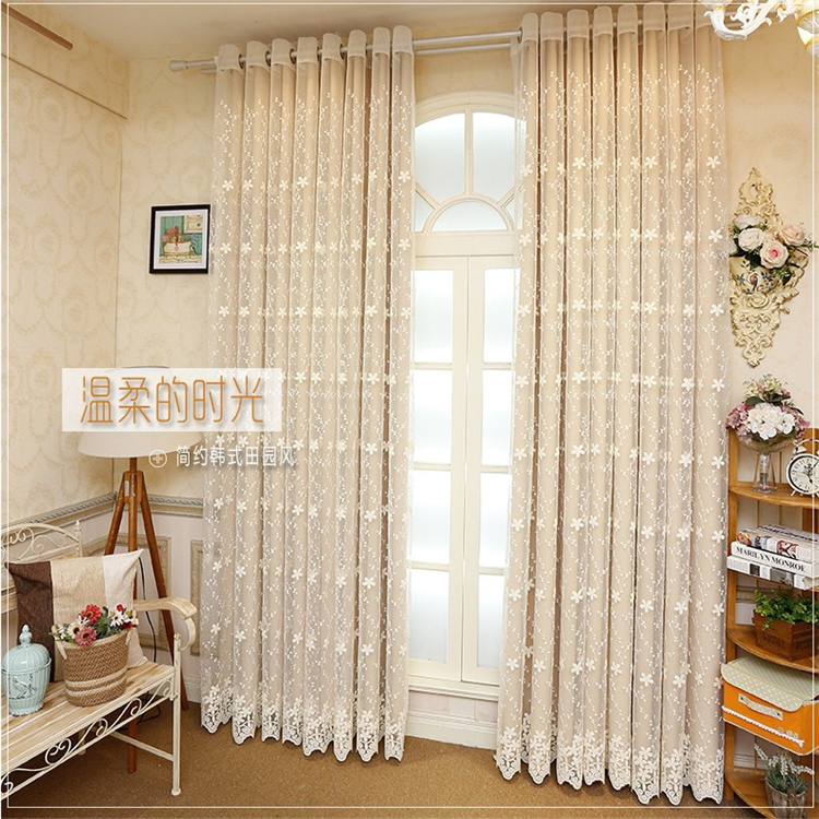 Lace beige,pink,blue Double layer decoraton Window Curtains Set for Living Room (1 PC blackout Curtain and 1 PC voile)