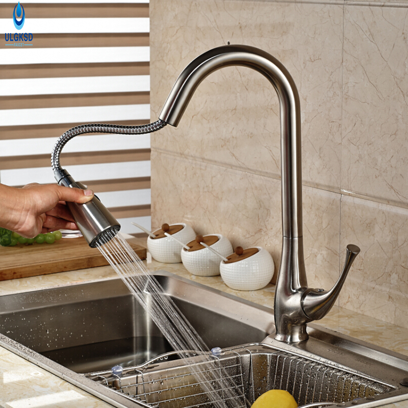 ULGKSD Brushed Nickle Pull Down Spout Kitchen Faucet Hot and Cold Water Mixer Taps Spout Kitchen