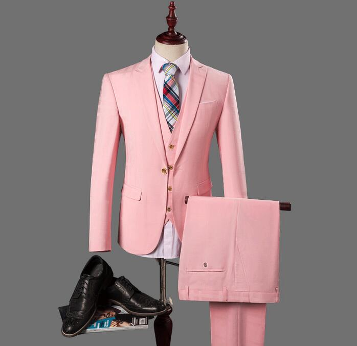 2017 New Best man printing suit Groom Tuxedos prom Business Pink Wedding dresses Suits Men host Blazer Set jacke pant vest 3 pie