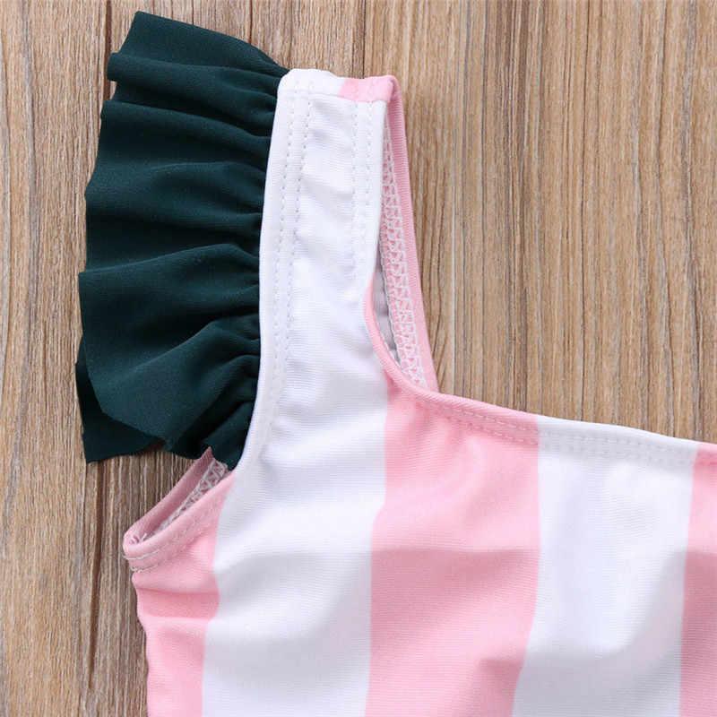 Купальный костюм для маленьких девочек; цвет розовый, белый; в полоску; с рисунком глаз; детский купальник; детский цельный купальный костюм; летняя пляжная одежда
